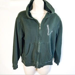 Lucky Brand Distressed Green Zip Hoodie Sz 12